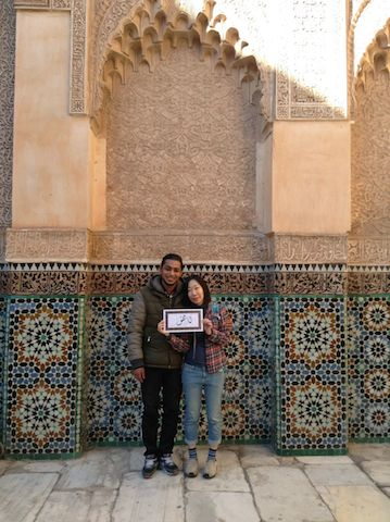 モロッコのベンユーセフマドラサにて