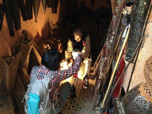 モロッコ、マラケシュのランプ工房