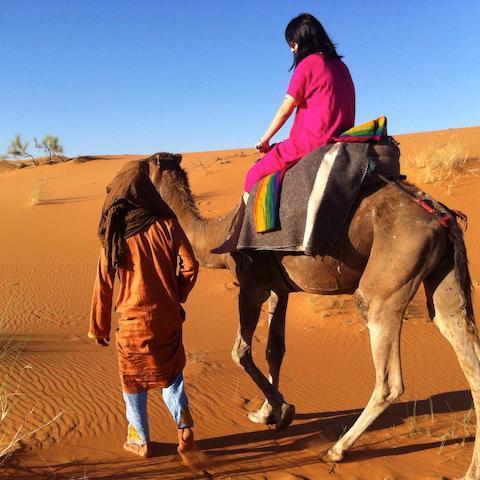 モロッコ、サハラ砂漠でらくだツアー