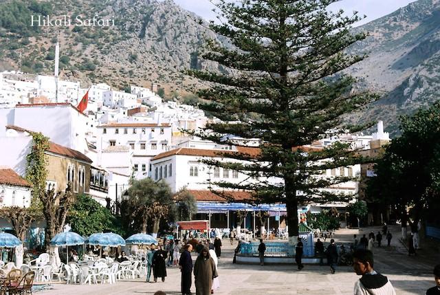 モロッコ、シャウエンのウタ・エル・ハマム広場
